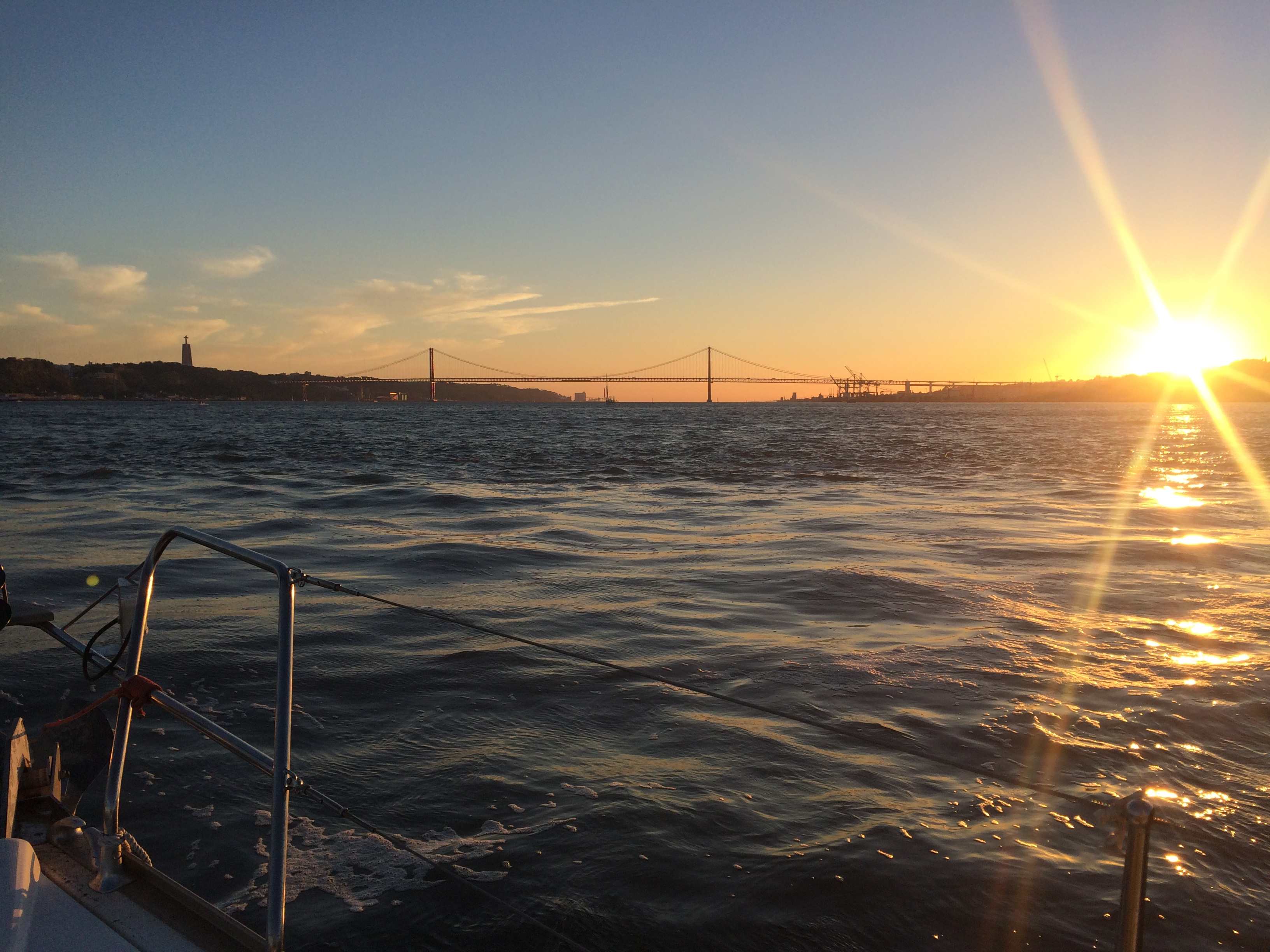 View from a private yacht on Tejo river in Lisbon