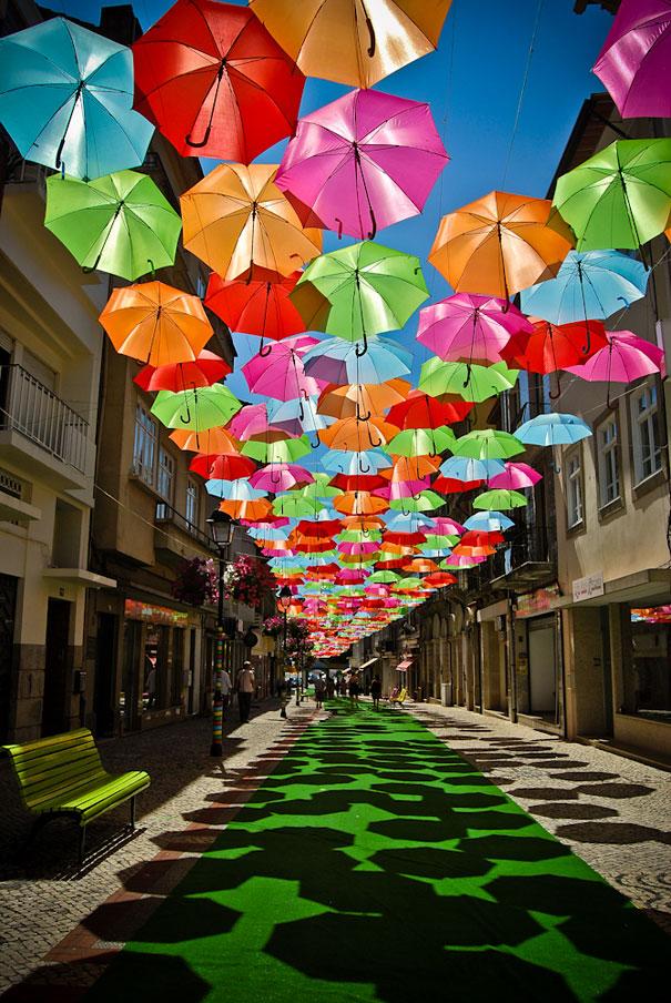 Águeda during the umbrella festival, Portugal