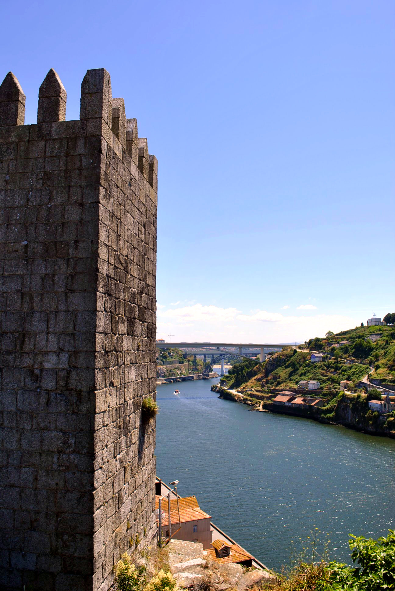 Dona Maria Bridge in Porto, built by Eiffel himself. A view from the Fernandine-Walls.