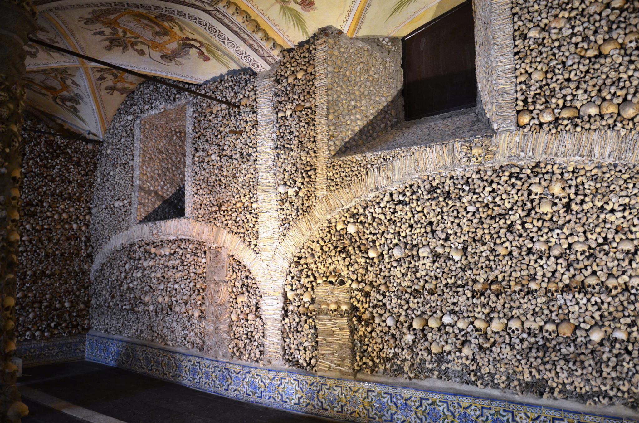Capela dos osos, skull and bones chapel in Evora, Portugal