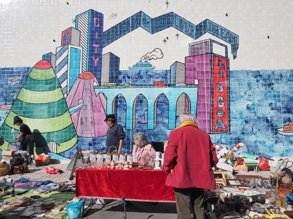 Feira da Ladra market stall in Lisbon, Portugal