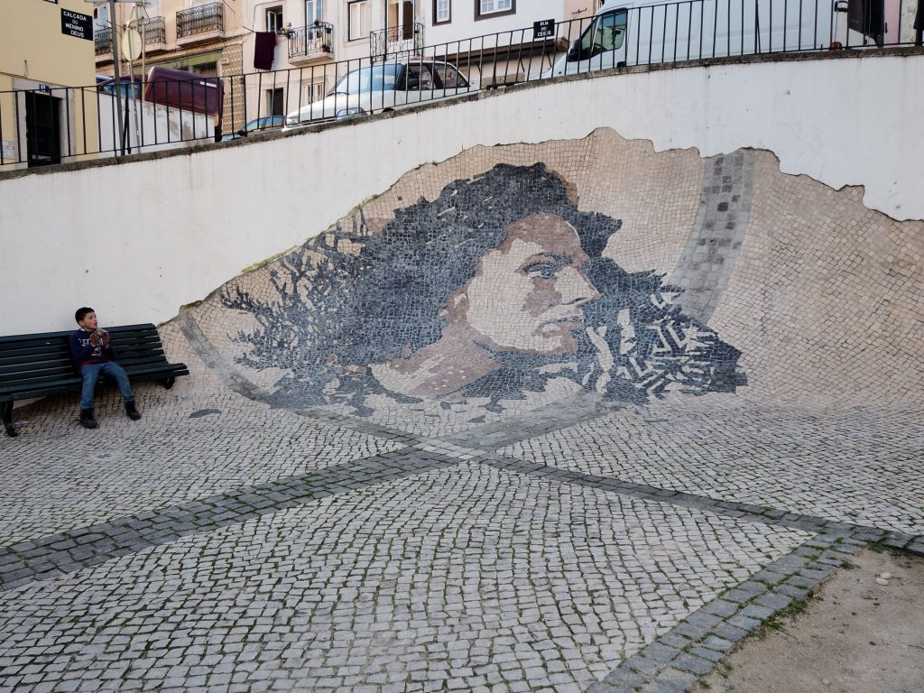 Amalia Rodrigues tiles in Alfama, Portugal