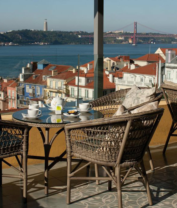 View from the Terrace Bar of Bairro Alto Hotel in Lisbon, Portugal