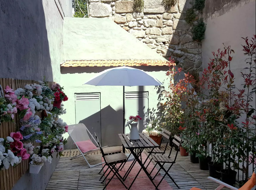 Lovely Patio of a Porto Airbnb. Link in the blog post.