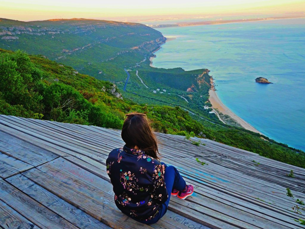We drove to Setúbal, Portugal, on a scenic road, overlooking the ocean. We stopped at this secret viewpoint, which in real life is much scarier than it looks in the picture.