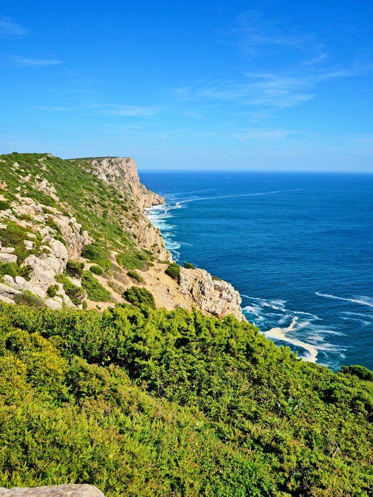 Green cliffs aith ocean view, Cape Espichel, Setubal, Portugal