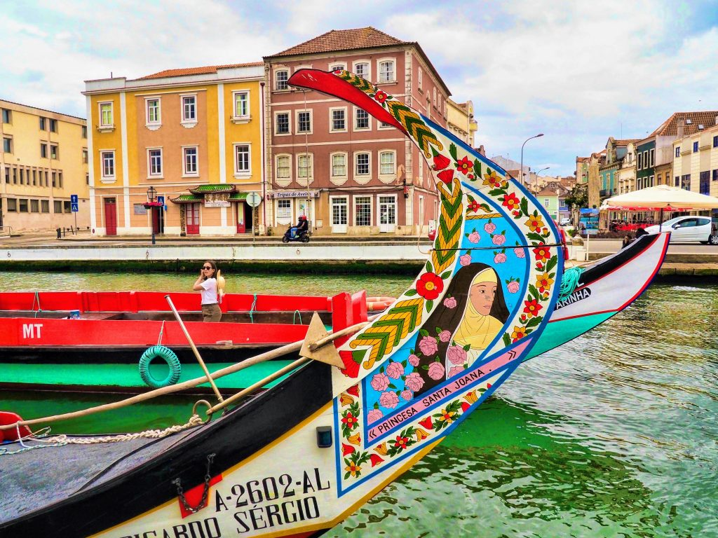 Close view to a moliceiro boat in Aveiro, known as the Portuguese Venice