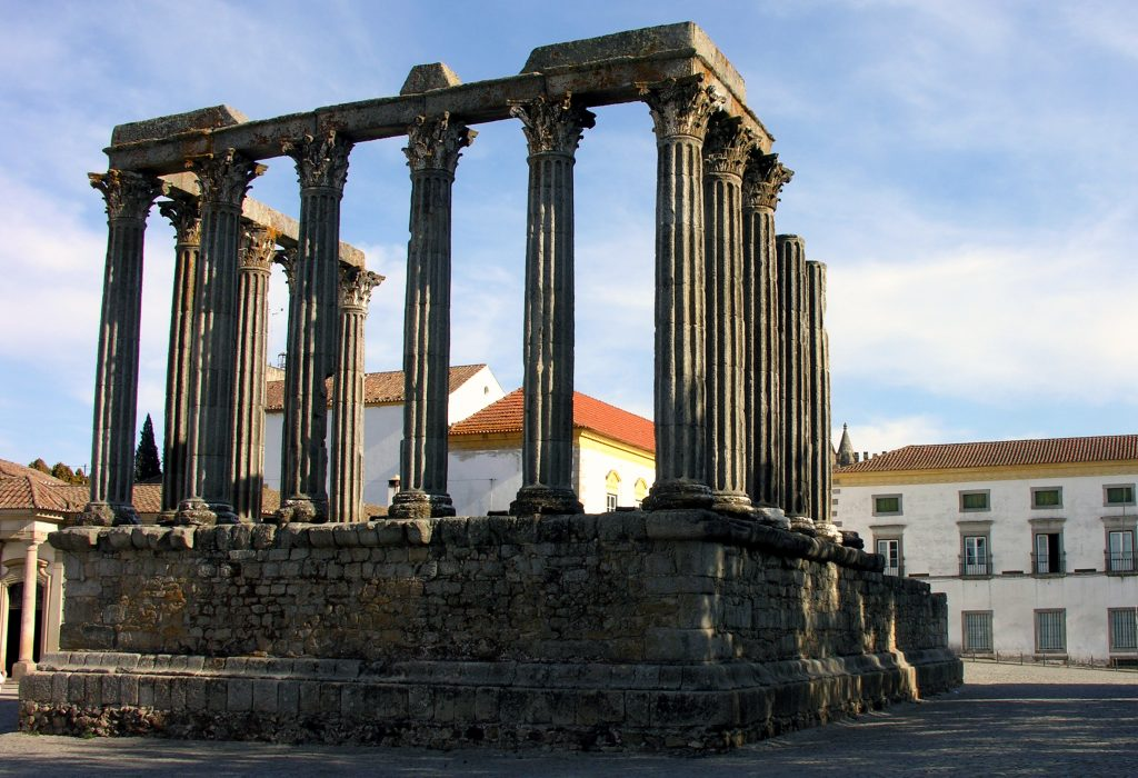 The Diana temple in Evora, Portugal