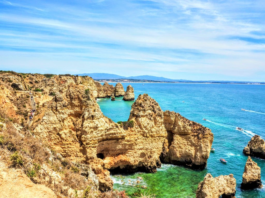 Ponta de Piedade on a clear day in Lagos, Portugal