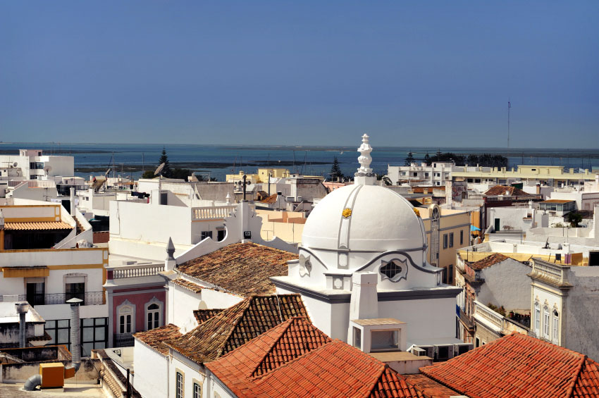 View to Olhao white-washed town.