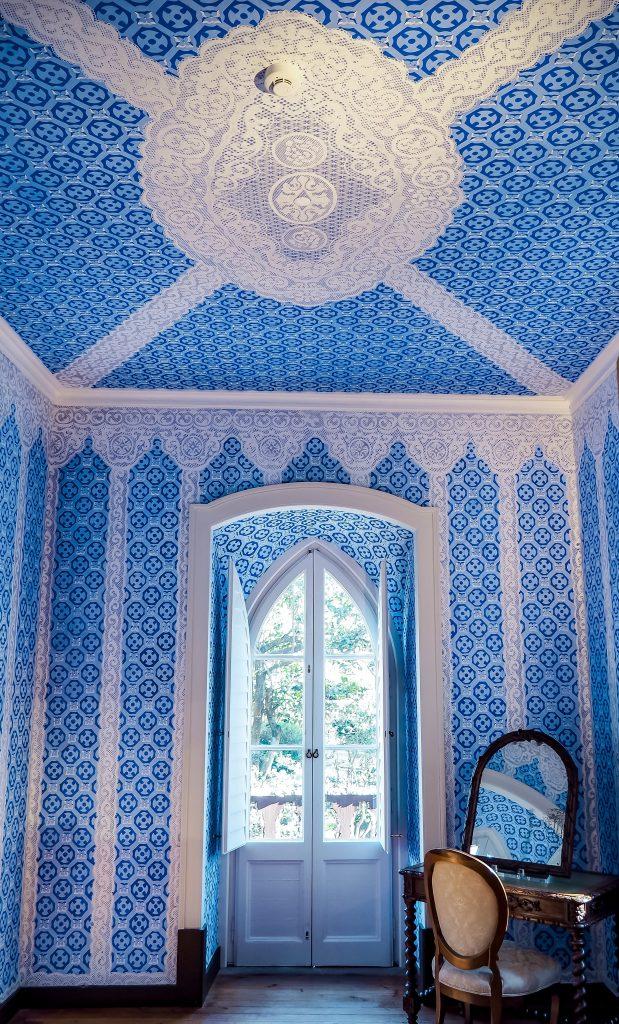 Blue Interior of the Room in Chalet da Condessa d'Edla