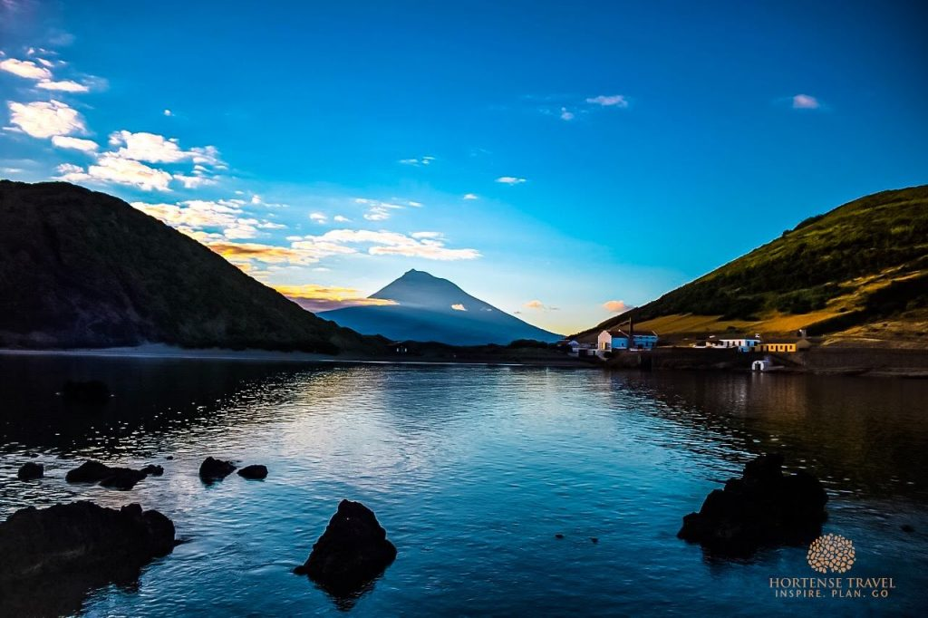 View of a lake in front of the Pico mountain, Pico island, Portugal