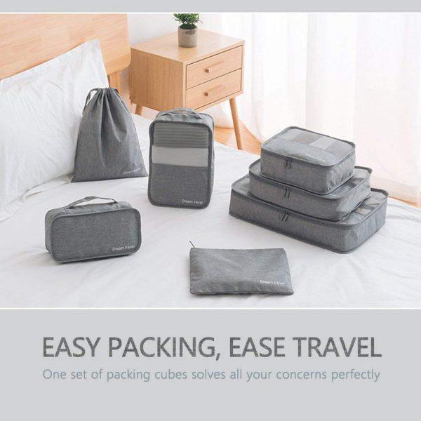 Packing Cubes VAGREEZ 7 Pcs Travel Luggage Packing Organizers Set With Laundry Bag - Hortense Travel