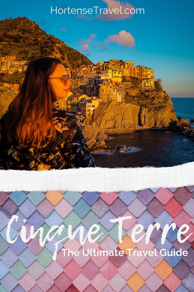 Cinque Terre - Manarola, a women looking over the village of Manarola.