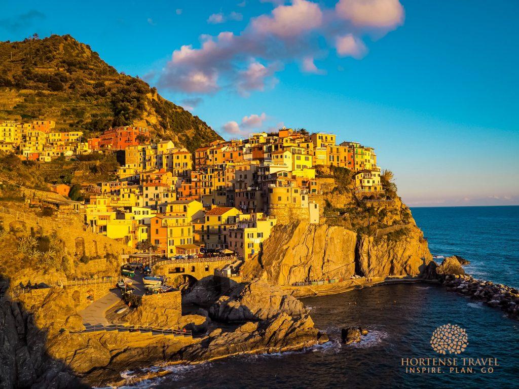 Manarola village, Cinque Terre at golden hour, just befor sunset