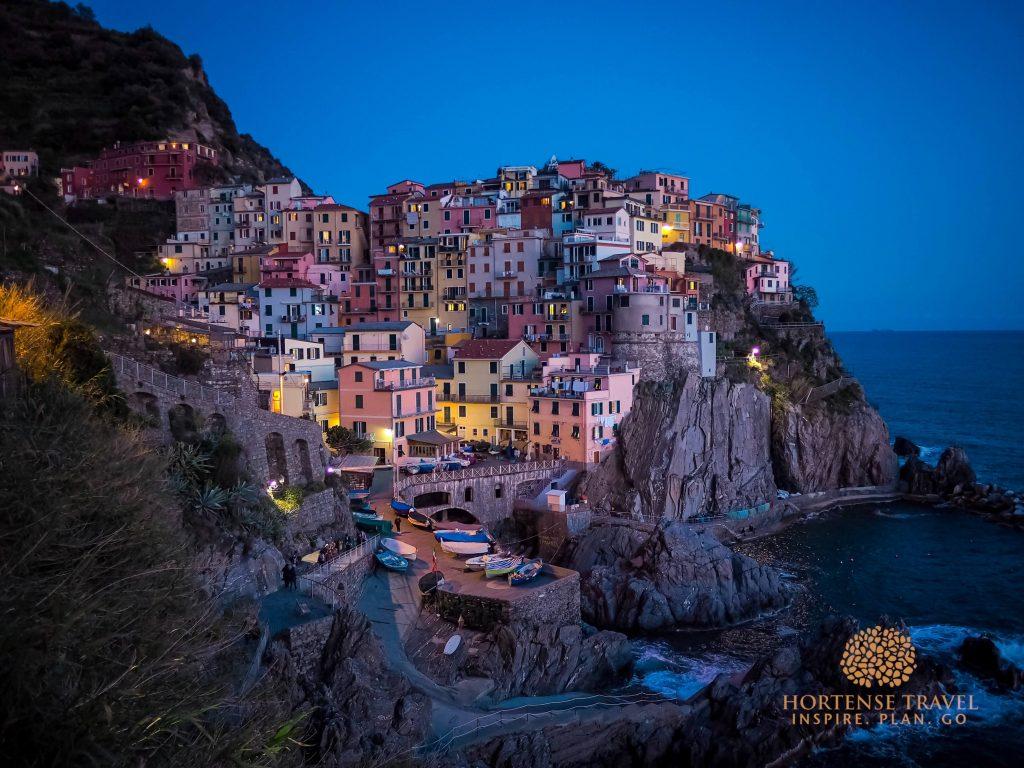 Manarola village at sunset, Cinque Terre, Italy