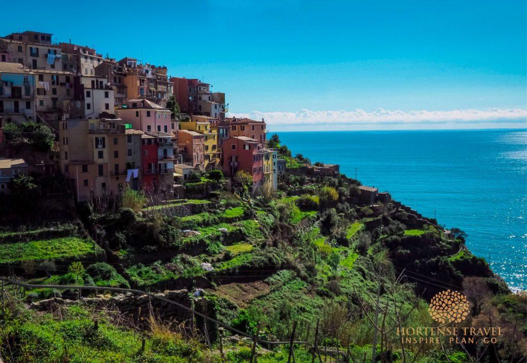Corniglia village perched on a hilltop, cinque terre, Italy