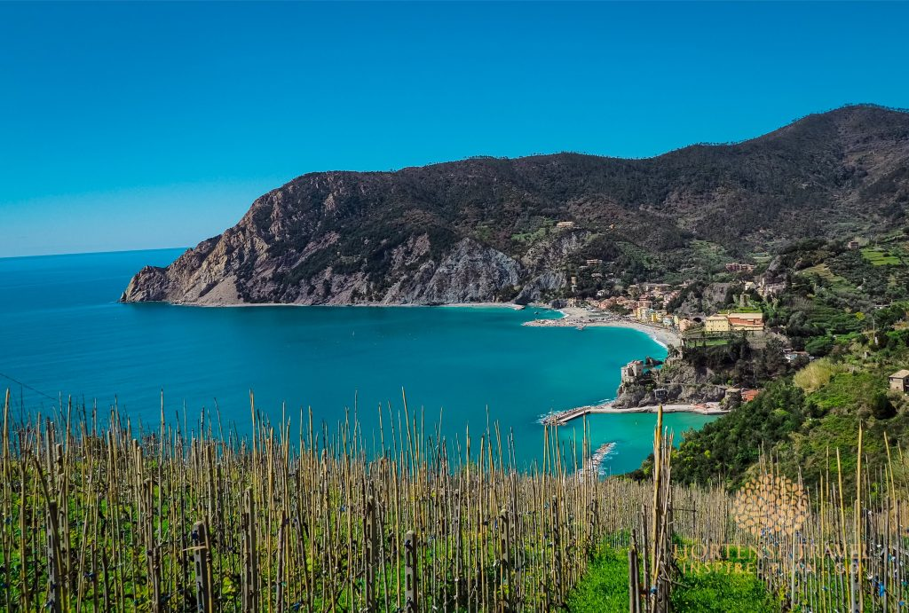 Monterosso al Mare seen from a hiking trail, Cinque Terre, italy